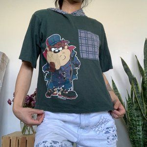 Vintage Taz Plaid Pocket Hoodie T-shirt